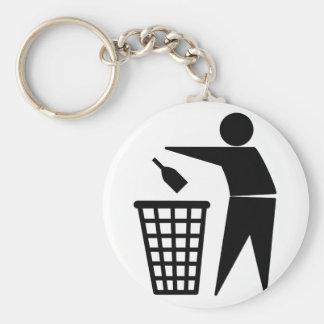 Throwing Trash Away (Bottle) Basic Round Button Keychain