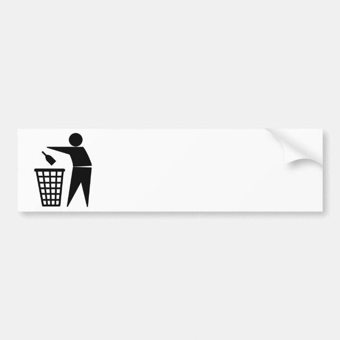 Throwing Trash Away (Bottle) Bumper Sticker
