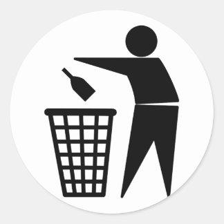 Throwing Trash Away (Bottle) Classic Round Sticker