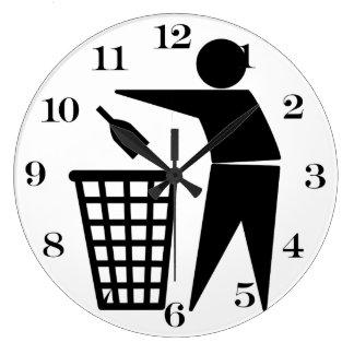 Throwing Trash Away (Bottle) Clocks