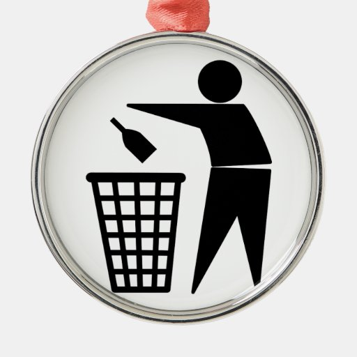 Throwing Trash Away (Bottle) Metal Ornament