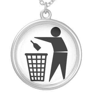 Throwing Trash Away (Bottle) Round Pendant Necklace