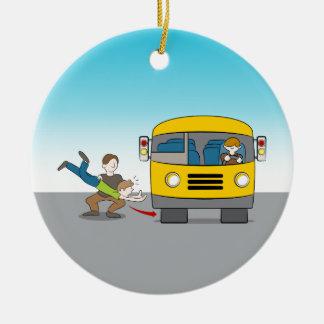 Thrown Under Bus Ceramic Ornament