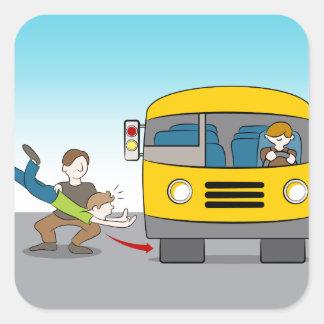 Thrown Under Bus Square Sticker