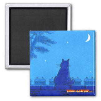 """Thru The Cat Flap Magnet - """"Blue Moon"""""""