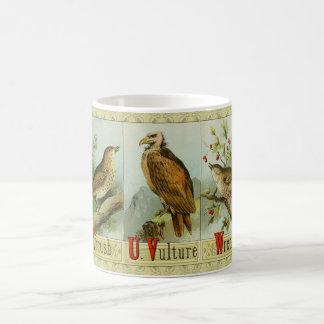 Thrush, Vulture and Wren; antique birds alphabet Coffee Mug