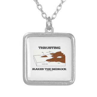 Thrusting Makes The Bedrock (Geology Orogeny) Square Pendant Necklace
