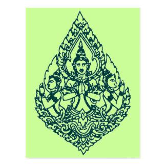 THTHREE HEAD BUDDHA PRAYING LAO, THAI & CAMBODIA POSTCARD