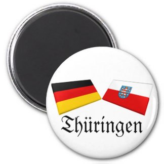 Thueringen, Germany Flag Tiles 2 Inch Round Magnet