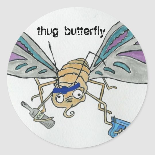 thug butterfly classic round sticker