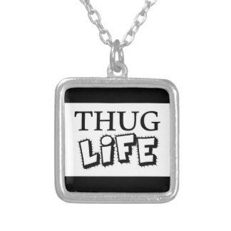 THUG LIFE ATTITUDE MOTTO GANGS GANGSTER TOUGH HOOD SILVER PLATED NECKLACE
