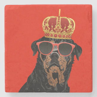 Thug Life King Rottweiler for Rottweiler Parents Stone Coaster