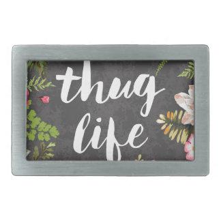 Thug life rectangular belt buckle