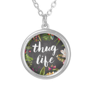 Thug life round pendant necklace