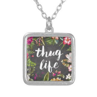 Thug life square pendant necklace