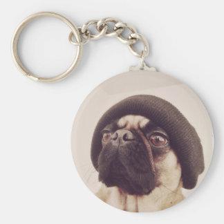 Thug Pug with hat design Basic Round Button Keychain