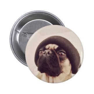 Thug Pug with hat design Button
