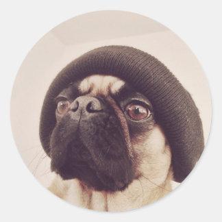 Thug Pug with hat design Classic Round Sticker