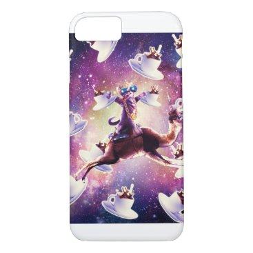 Thug Space Cat On Camel Unicorn - Coffee iPhone 8/7 Case