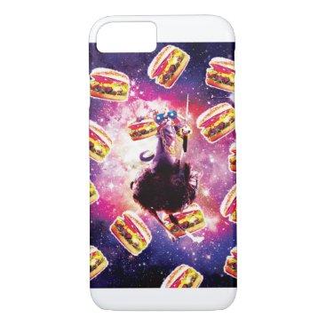 Thug Space Cat On Ostrich Unicorn - Burger iPhone 8/7 Case