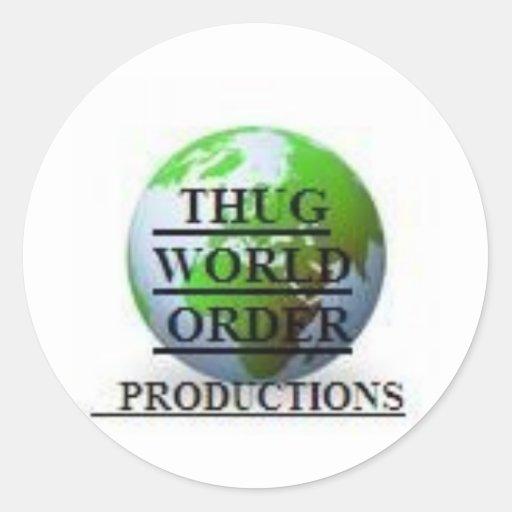 THUG WORLD ORDER PRODUCTIONS  LOGO-4 CLASSIC ROUND STICKER