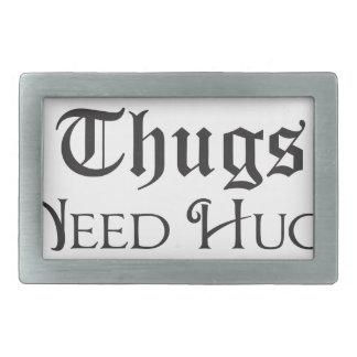 Thugs need hugs rectangular belt buckle