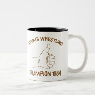 Thumb Wrestling Champion 1984 Vintage Two-Tone Coffee Mug