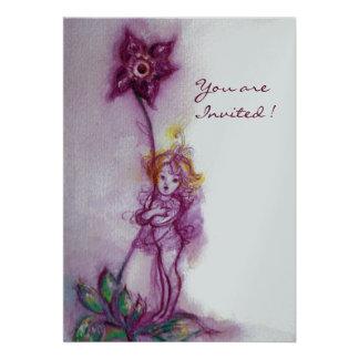 THUMBELINA 2  ,pink purple silver metallic Invitations