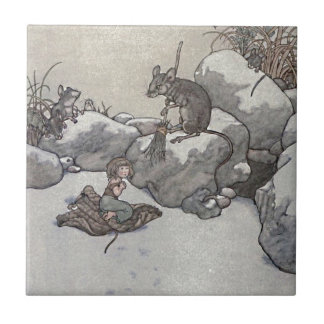 Thumbelina and Mouse Princess Winter Fairy Tale Ceramic Tile
