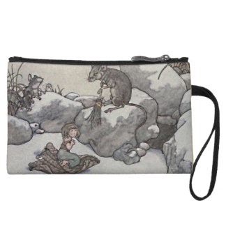 Thumbelina and Mouse Princess Winter Fairy Tales Wristlet Clutch