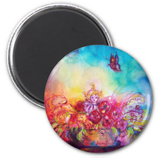 THUMBELINA,FLOWER BASKET AND BUTTERFLY 2 INCH ROUND MAGNET