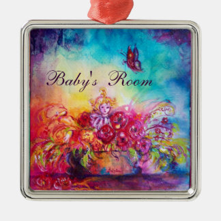 THUMBELINA ,FLOWER BASKET AND BUTTERFLY METAL ORNAMENT