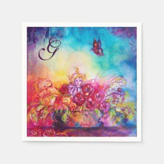THUMBELINA,FLOWER BASKET AND BUTTERFLY MONOGRAM PAPER NAPKIN