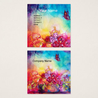 THUMBELINA,FLOWER BASKET AND BUTTERFLY SQUARE BUSINESS CARD