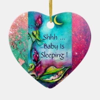 THUMBELINA  PINK RUBY HEART MONOGRAM DOOR HANGER CERAMIC ORNAMENT