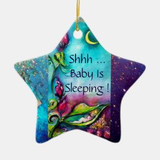 THUMBELINA  PINK RUBY STAR MONOGRAM DOOR HANGER CERAMIC ORNAMENT