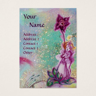 THUMBELINA ,PURPLE FLOWER IN BLUE TEAL SPARKLES BUSINESS CARD