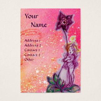 THUMBELINA, PURPLE FLOWER IN PINK FUCHSIA SPARKLES BUSINESS CARD