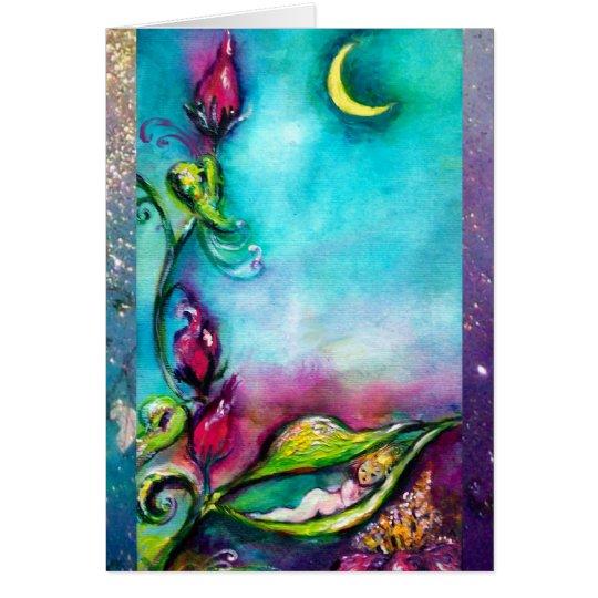 THUMBELINA SLEEPING BETWEEN ROSE LEAVES CARD