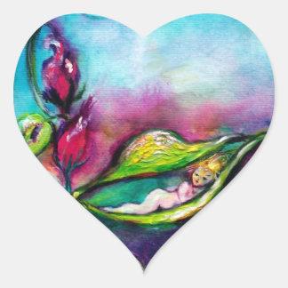 THUMBELINA SLEEPING BETWEEN ROSE LEAVES HEART STICKER