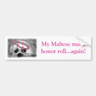 Thumbellina. es mi nombre que soy un maltés hermos pegatina para auto