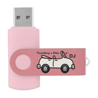 Thumbing a Ride in Pink (Personalized) Swivel USB 2.0 Flash Drive