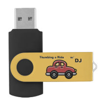 Thumbing a Ride - Red Car on Yellow (Personalized) Swivel USB 2.0 Flash Drive