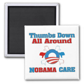 Thumbs Down NObama Care 2 Inch Square Magnet