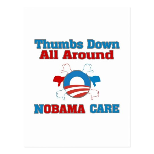 Thumbs Down NObama Care Postcard