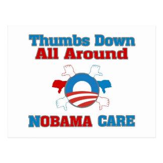 Thumbs Down NObama Care Postcard