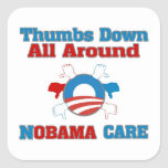 Thumbs Down NObama Care Square Sticker