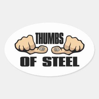 Thumbs of Steel Oval Sticker