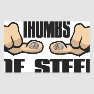 Thumbs of Steel Rectangular Stickers