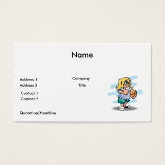 thumbs up basketball girl cartoon graphic business card